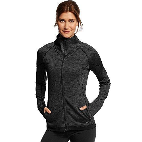 Champion Women's Tech Fleece Full Zip Jacket_Black Space Dye/Black_M