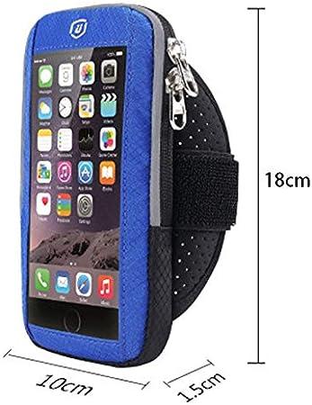 YDFSBB Pantalla Táctil Brazalete Deportivo para Correr Al Aire Libre Funda para Teléfono Móvil Trotar Brazo Banda Teléfono Celular para 5.8 Pulgadas iPhone X 7 6S 6 Más Azul: Amazon.es: Deportes y