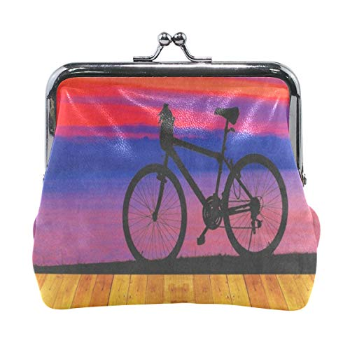 Coin Purse Oil Painting Vintage Wooden Sunrise Bike for sale  Delivered anywhere in USA