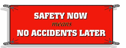 Brady 50909 3-1/2' Height, 10' Width, Vinyl, White And Yellow On Red Color Safety Banner, Legend