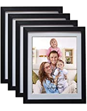 Giftgarden 8x10 Picture Frame Black with Mat, Matted to 8 by 10 Cadre Photo for Wall or Tabletop, Set of 4