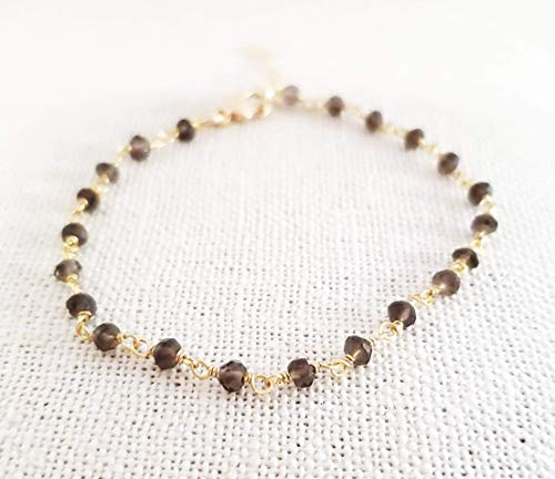 Smokey Quartz Bracelet - Gemstone Jewelry - Wire Wrapped Rosary Chain - 14k Gold Filled - Gift for Her