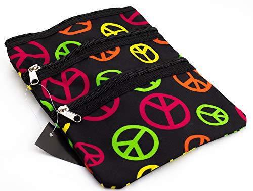 9 inch Teen Messenger Bag | Shoulder Bag | Swingpack Purse | Cross Body Bag by Unique Traveler (Peace Sign-Multicolor)