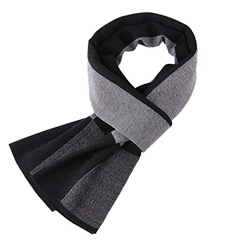 Taylormia Men's Winter Cashmere Scarf - Warm Soft Gentleman Knit Scarves Black Grey by Taylormia
