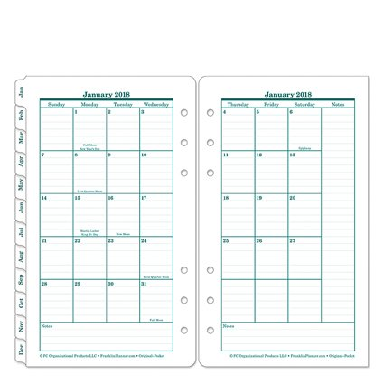 Pocket Original Two Page Monthly Ring-bound Tabs - Jan 2018 - Dec 2018