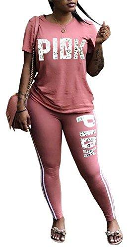 DingAng Women Letter Print Short Sleeve V Neck Sweatshirt Long Pant Jumpsuits 2 Piece (Pink Jogging Pants)
