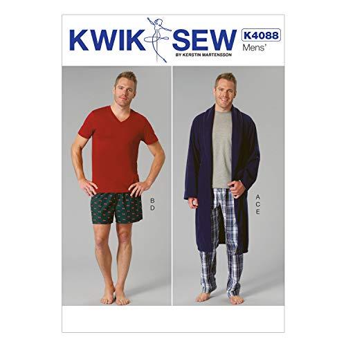 KWIK-SEW PATTERNS K4088 Men's Robe, Belt, Tops, Shorts and Pants, All Sizes