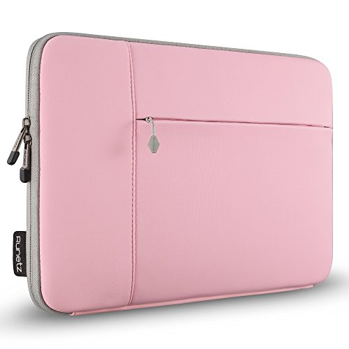 Runetz Laptop Sleeve 12 inch Neoprene for Your New MacBook 12 inch Sleeve A1534, MacBook Sleeve Case - Perfect Mac Sleeve Cover with Pocket, Laptop Bag 12 inch Display Size - Pink-Gray by Runetz