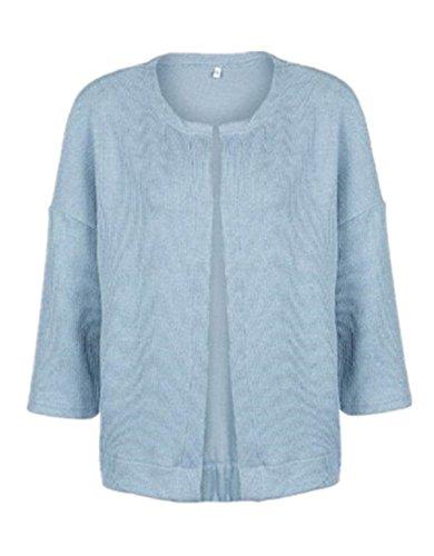 Chaquetas Jacket Azul Larga SÓLido De Casual Punto Abrigos Sencillos Color Manga Mujer Tayaho Outwear Mantener Corto Top Coat Caliente Cardigan fSwn7dcqW