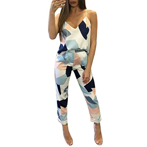 Two Piece Set,Fheaven Women's Fashion Casual Geometric Print Camis Tops+Pants Clothes (S, Blue) from Fheaven