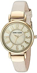 Anne Klein Women's AK/2156IMGV Easy To Read Gold-Tone and Ivory Leather Strap Watch