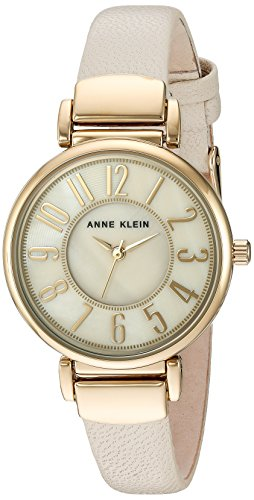 Gold Tone Ivory Dial - Anne Klein Women's AK/2156IMIV Easy To Read Gold-Tone and Ivory Leather Strap Watch