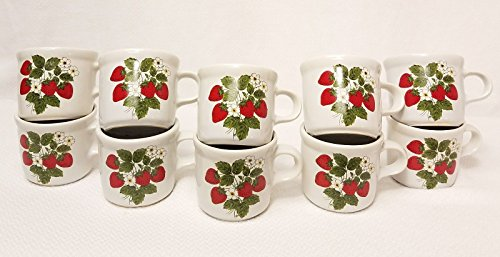 Vintage McCoy Pottery Strawberry Country SET of 5 MUGS 3 1/2