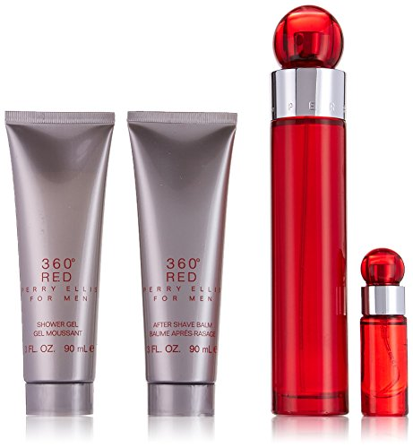 Perry Ellis 360 Red 4 Piece Gift Set,(3.4oz/100ml Eau de Toilette, 3oz Shower Gel, 3oz After Shave Balm, 0.25oz Eau de toilette Spray)