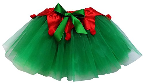 Adult, Plus, Kids Christmas Party, Play, Elf or Santa's Helper Green Tutu Skirt (XL (Plus Size), Green & Red) Plus Size Womens Christmas Costumes