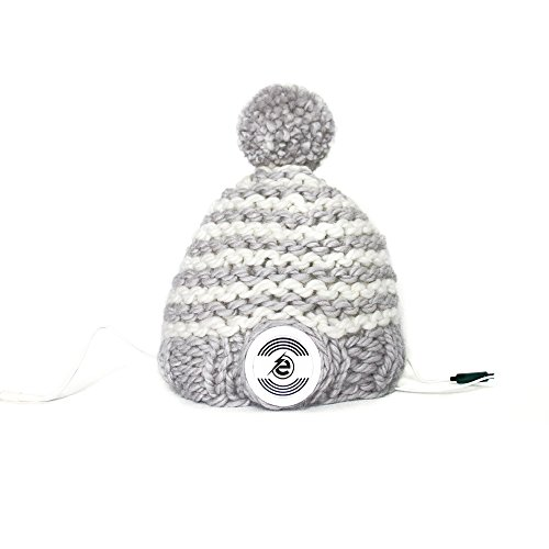 Earebel Grey & White Striped Hand Knitted Bobble Hat Beanie with Built-In White AKG Headphones, Skudde by Earebel powered by AKG