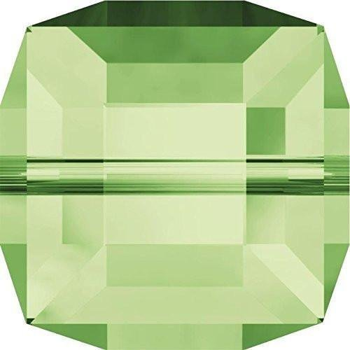 5601 Swarovski Crystal Beads Cube 6mm | Peridot | 6mm - Pack of 10 | Small & Wholesale ()