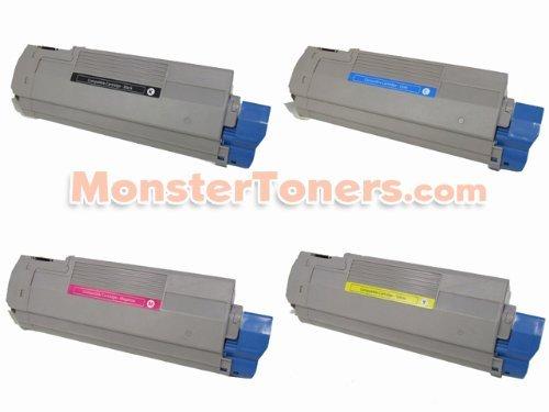 4-Pack Okidata Remanufactured Toner Cartridge Set 43324420, 43324419, 43324418, 43324417 for C5550n MFP, C6100dn, C6100dtn, C6100hdn, C6100n Series (1 Black, 1 Cyan, 1 Magenta, 1 Yellow)