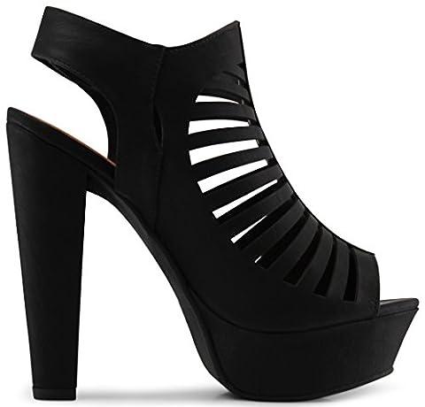 Marco Republic Milan Peep Toe Velcro Closure Slingback Ankle Strap Cut Out Platform Chunky Stacked Heels Sandals Pumps - (Black) - - Slingback Platform Heels