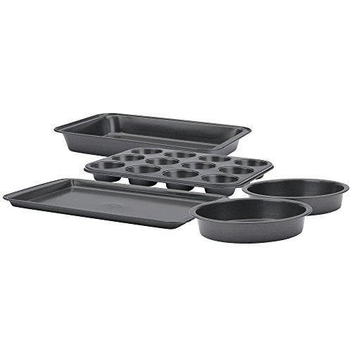 Betty Crocker 5 Piece Bakeware Set, Gray (Plate Cookie Tin Sheet)