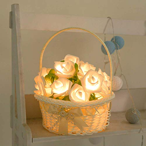 Wffo Rose LED Window Curtain Lights String Lamp Party Decor with 20 LED Beads (Yellow)