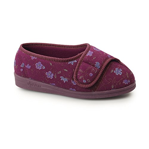 Comfylux DAVINA Ladies Super Wide Fit Velcro Floral Slippers Navy Wine CdUOvo7