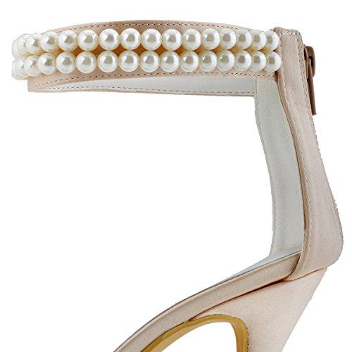 Femme Ferme De Pumps Aj3065 Mariage Eclair Aiguille Perle Fermeture Elegantpark Chaine Satin Chaussures Bout Champagne Talon qIOTdgPw