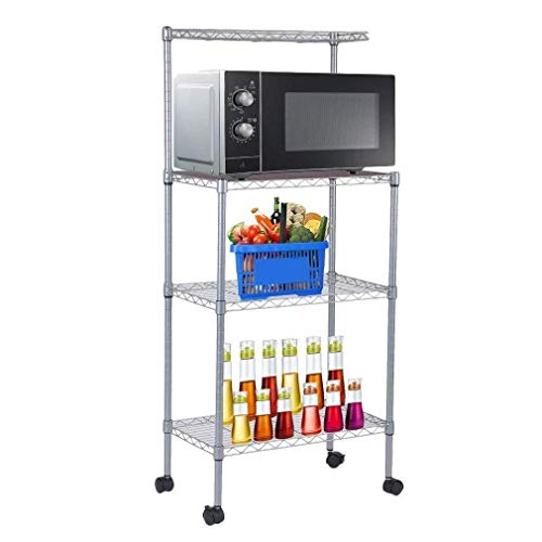 Cypress Shop Adjustable Wire Metal Mesh Kitchen Bakers Rack 4 Tiers Microwave Oven Rack Cart Stand Carbon Steel Pipe Shelf Rack Storage Pantry Cooking Utility Cookware Organizer Home -