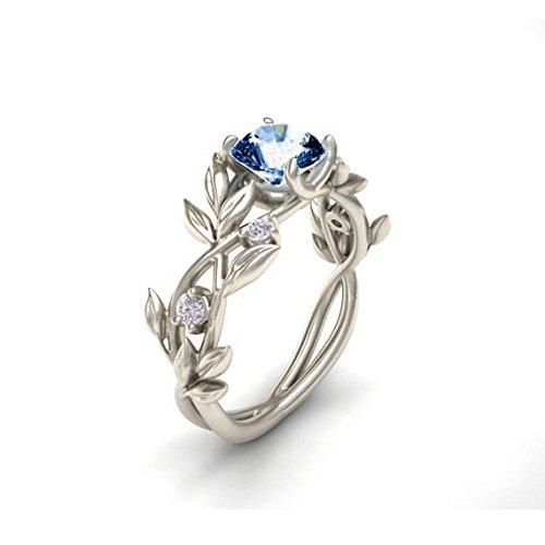 HIRIRI Women's Silver Floral Transparent Diamond Flower Leaf Rings Wedding Engagement Gift (6, Dark Blue)