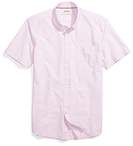 (Goodthreads Men's Standard-Fit Short-Sleeve Solid Poplin Shirt, Purple, Medium )