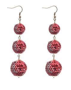 VK Accessories Sequin Ball Dangle Earrings Thread Dangle Earrings Soriee Drop Earrings Beaded Ball Ear Drop Red