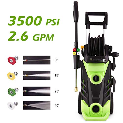 Homdox 3500 PSI Electric Pressure Washer, 1800W Power Washer, 2.6GPM High Pressure Washer, Professional Washer Cleaner Machine with 4 Interchangeable Nozzles,Hose with Reel,Green (The Best Electric Pressure Washer)