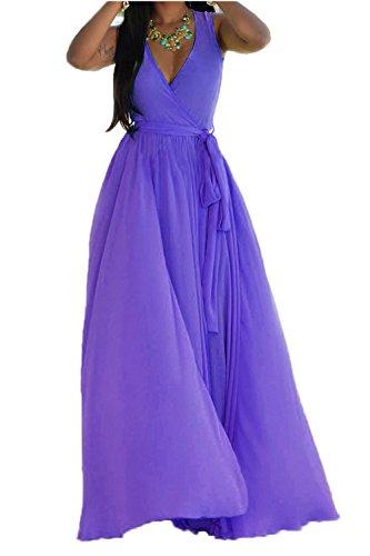 Mujeres Wrap Plisado Cuello V Split Maxi Vestido De Fiesta Con Cinturón Purple