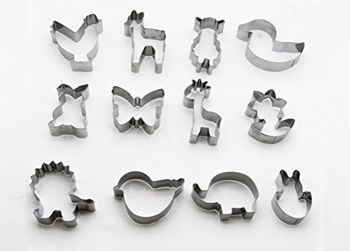 ShengHai Easter Animal Cookie Cutter Set - 12 Pieces,Horse,Giraffe,Lion,Bunny,Chick, Elephant ,Sheep,Duck ,Bird,Flower And Butterfly (Cookie Cutter Set 12 Piece)