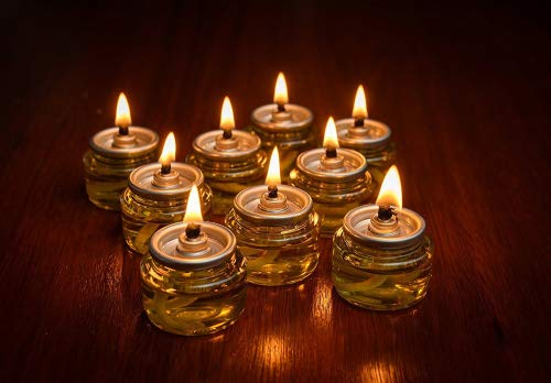 Pre-Filled Menorah 100% Olive Cup Candles - Hanukkah Lights - NO SPIL NO MESS Oil with Cotton Wick in Glass Cup 22 per pack, Burns Approx.3 1/2 Hrs - Light Hanukkah Candles