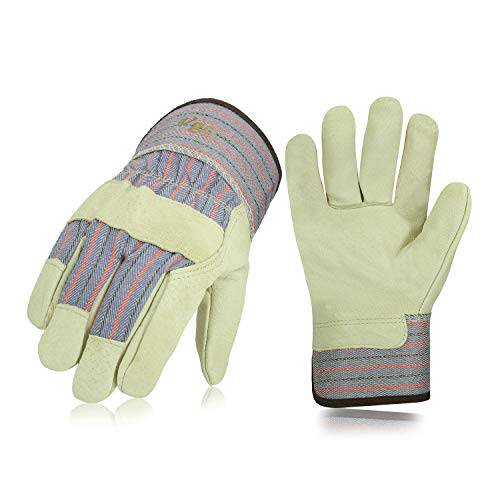 Vgo 3Pairs 32℉ or above Lined Heavy Duty Grain Leather Work Gloves with Safety Cuff, Leather Palm(Size XL,Plaid,PA3501F)