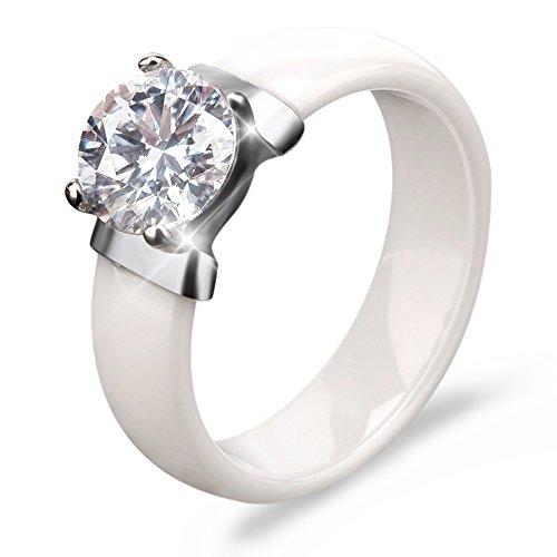 (TuHe Diamond Co 2.0ct Rings,Cubic Zirconia & Simulated Gemstone Promise Engagement Ceramic Rings size 6 7 8 9 (White, 7))