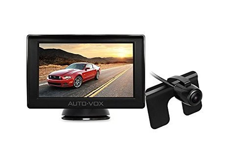 "Auto-Vox M1 4.3"" TFT LCD Backup Camera Kit Parking Assistance System with Night Vision, Easy Installation HD Rear View Back Up Monitor Waterproof License Plate Reverse Camera For Trucks,Ford,Toyota - Vox 3 Light"