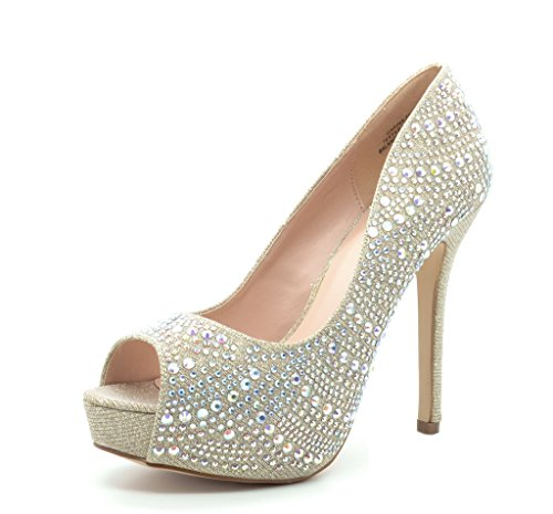 TOETOS CARINA-70 Elegant Slip On Platform Peep Toe Sexy High Heel Pumps Colorful Rhinestones Ladies Party shoes GOLD SIZE 10 - Sexy Rhinestone Shoes