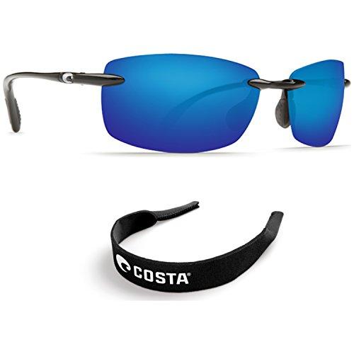 Costa Del Mar Ballast Blk 580P Blu Mirror PC - With Free Neoprene Black - Costa Ballast