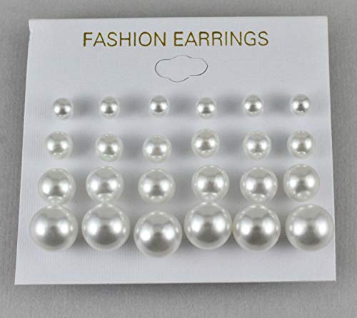 White earrings graduated pearl small product image