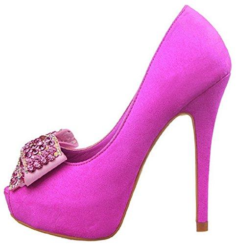HooH Damen Flanell Peep Toe Diamanten Pumps 1387-5 Rosarot
