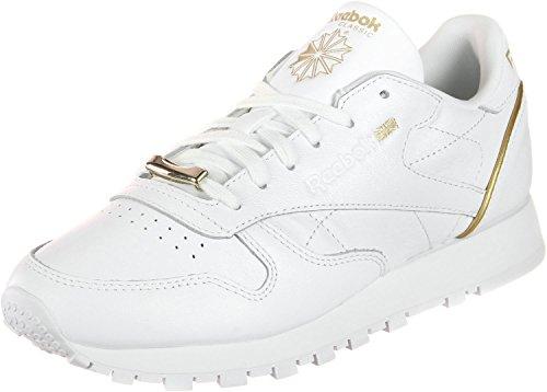 Sneaker Leather Reebok White Hardware Met sleek Donna Classic w4wqfxFt