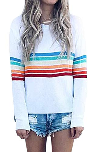 ECOWISH Women's Rainbow Colorful Striped Long Sleeve Crew Neck T Shirt Color Block Casual Blouse Tops 8639 White XL