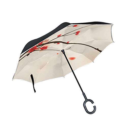 Clear Umbrella Plum Blossom Flowers Anti Uv Inverted Umbrella Windproof Protection Outdoor Use Camping For Lady Adult With C-shaped Handle Rain Umbrellas