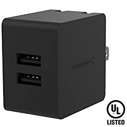 Sabrent [UL Certified] Dual USB Wall Charger with Foldable Plug (10.5W 2.1 Amp) Smart USB Charger with Auto Detect Technology [Black] (AX-SMP2)