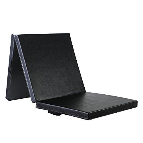 Leapair Weichbodenmatte Fitnessmatte Klappbare Gymnastikmatte Turnmatten Rutschfeste Sportmatte Spielmatte für Kinder Schwarz