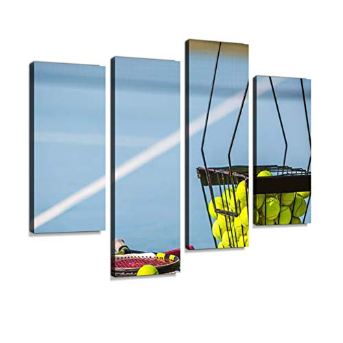 Tennis Practice Canvas Wall Art Hanging Paintings Modern Artwork Abstract Picture Prints Home Decoration Gift Unique Designed Framed 4 Panel