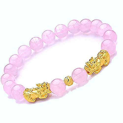 Prime Feng Shui Prosperity Bracelet 8mm Natural Bead Bracelet with Double Gold Plated Pi Xiu/Pi Yao Attract Wealth and Good Luck(Pink)