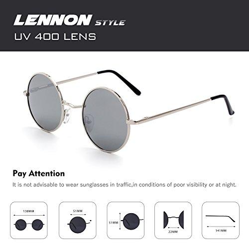 Retro Métallique Rond Cercle Du Cgid Style E01 Lennon Lunettes Soleil Inspirées En Polarisées De Argenté 51mm Vintage Uwg1O6wq8